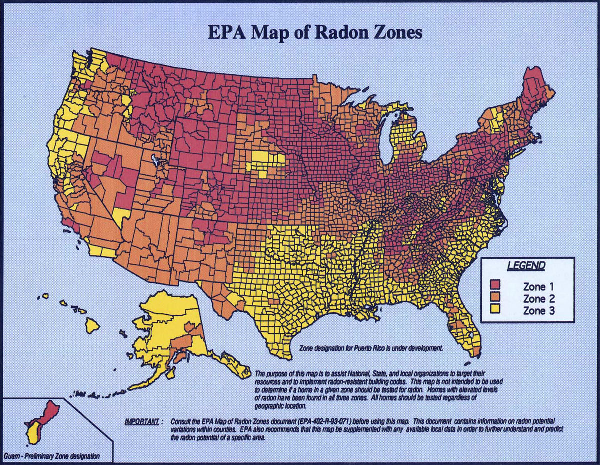 Does Radon Exist In Your State - Map of usa with zones